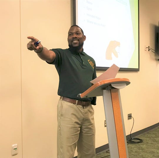 FAMU assistant athletics director for academics Anthony Williams leads the orientation for the Rattler Summer Institute on Tuesday, June 18, 2019.