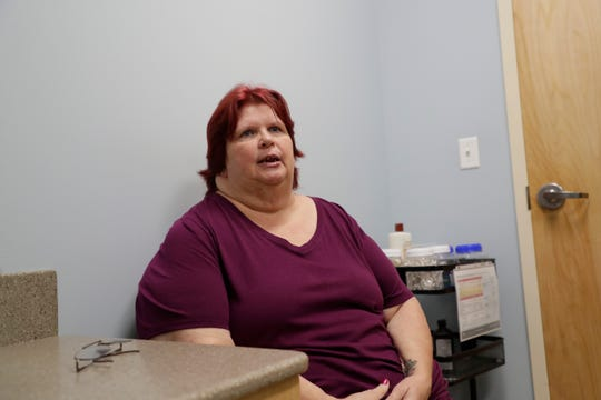 Paulinea Hazen, a Tallahassee Memorial Transition Center at the Kearney Center patient, talks about her experience at the center during an event held to reveal the new addition to the Kearney Center Tuesday, June 18, 2019.