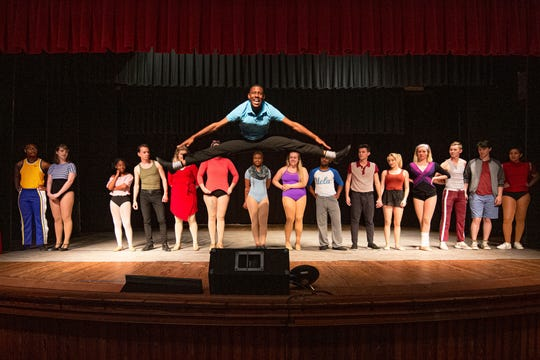 "Mike (Chazriq Clarke) proves he's as good a dancer as his sister when he sings ""I Can Do That!"" in Monticello Opera House's production of ""A Chorus Line."""