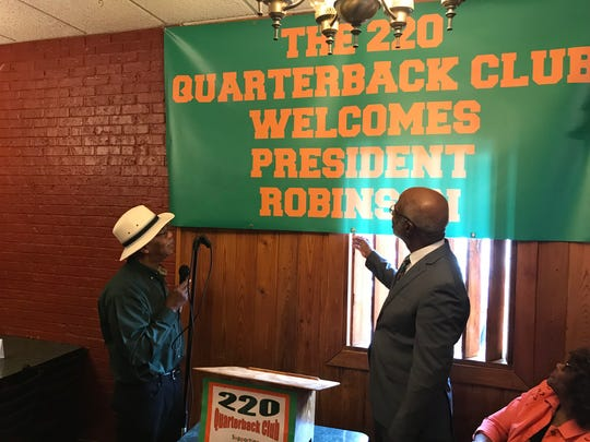 (L-R) Retired FAMU Vice President Eddie Jackson, founder of the 220 Quarterback Club and FAMU President Larry Robinson on Wednesday, June 19, 2019.