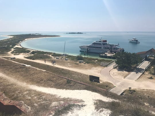 Climb stairs to the top of Fort Jefferson for a bird's-eye view of Dry Tortugas National Park.
