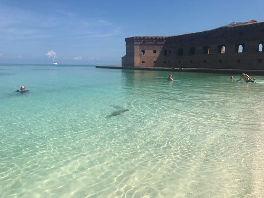 Crystal-clear water surrounded Fort Jefferson at Dry Tortugas National Park.