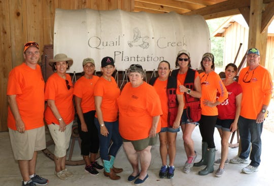Chris Robertson, left, Wendy Freider, Cindy LoPresto, Placida Yingling, Kathi DeGroat, Brenda Montgomery, Christann Hartley, Rachel Snyder, Michael Dillman and Kim Cunzo at the 2019 Clays for CASTLE event at Quail Creek Plantation.