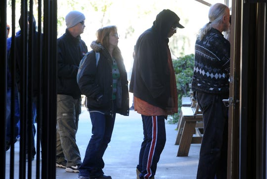 Simi Valley this week joined most other cities in Ventura County in committing to a coordinated, regional approach to combathomelessness. Shown is the breakfast line at the Samaritan Center, the daytime homeless shelter in Simi Valley.