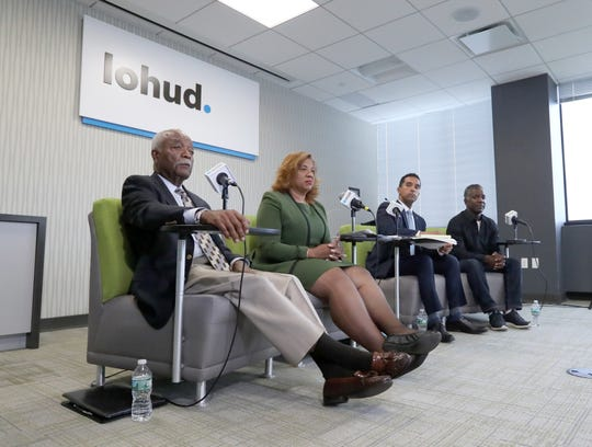 Mount Vernon mayoral candidates Clyde Isley, left, Shawyn Patterson-Howard, Mayor Richard Thomas and City Council President Andre Wallace at The Journal News in White Plains June 17, 2019.
