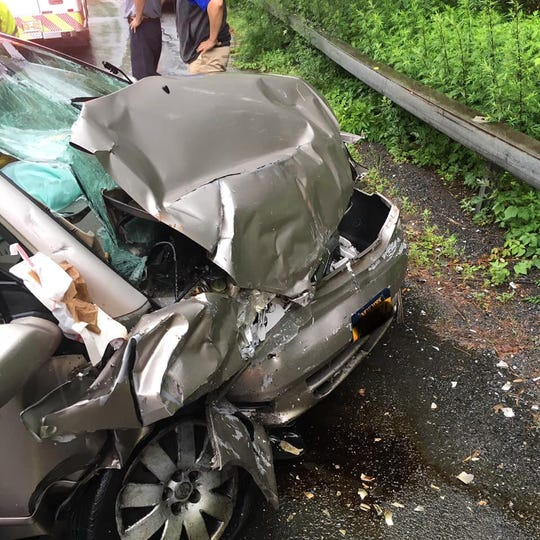Two teenagers were injured in a head-on crash with a Westchester County Bee-Line bus on Route 141 in Hawthorne on June 18, 2019.