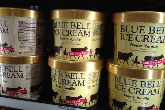In this April 10, 2015, file photo, Blue Bell ice cream rests on a grocery store shelf in Lawrence, Kan.