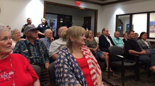 More than 40 people came to state Sen. Pat Fallon's town hall Wednesday in Wichita Falls.