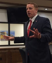 State Sen. Pat Fallon gives the audience a recap of the 86th session of the Texas Legislature during a recent visit to Wichita Falls.