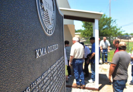 A historical marker was placed at the volunteer fire department in Kamay, Texas in celebration of the 100th year since striking oil in the year 1919.