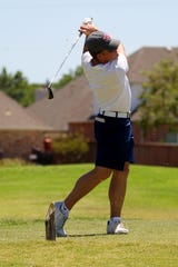 Quanah's JT Boyd tee's off Tuesday afternoon during the Texas-Oklahoma Junior Golf Tournament at The Champions Course at Weeks Park.