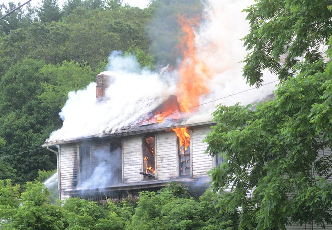 A house at 380 Dresden-Adamsville Road was severely damaged after a fire on Wednesday afternoon. Dresden Fire and four other departments fought the blaze.