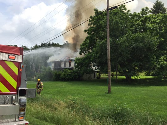 Several fire departments were dispatched to a structure fire in the 300 block Dresden-Adamsville Road around 12:30 p.m. Wednesday