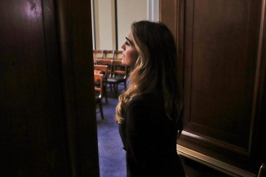Former White House communications director Hope Hicks arrives for closed-door interview with the House Judiciary Committee, at the Capitol in Washington.