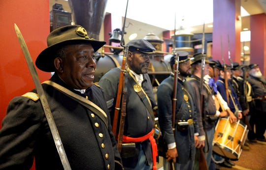 Civil War reenactors participate in a Juneteenth celebration in Atlanta in 2014.