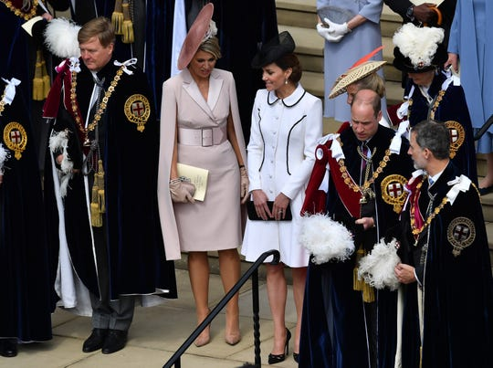 Prince William and Duchess Kate of Cambridge (C), flanked by King Willem-Alexander and Queen Maxima of the Netherlands (L), and King Felipe VI of Spain (R) at St. George's Chapel after the annual Order of the Garter service on June 17, 2019 at Windsor Castle.