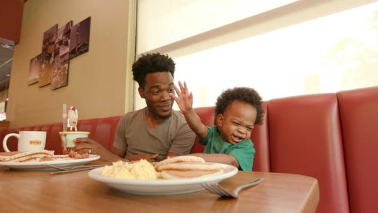 Dad DJ Pryor and son Kingston are back in another hilarious video! This time, they're in a Denny's commercial.
