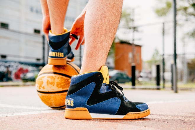 A pair of the Crunch Force 1 sneakers from Planters Peanuts.