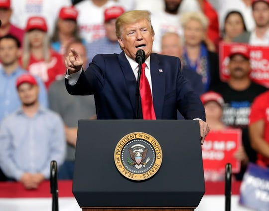 President Donald Trump speaks to supporters as he formally announced his 2020 re-election bid.