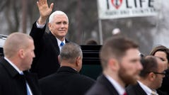 Vice President Mike Pence arrives to speak at the anti-abortion March for Life rally on the National Mall in Washington, DC, USA, 18 January 2019. The 46th annual pro-life March for Life protests against the US Supreme Court's 1973 Roe v Wade decision which decriminalized abortion in the United States.
