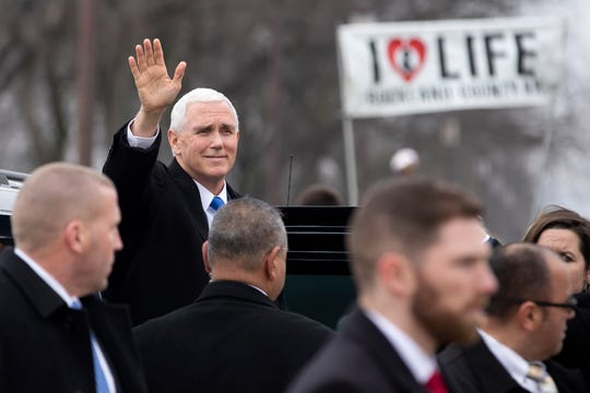 Vice President Mike Pence arrives to speak at the anti-abortion March for Life rally on the National Mall on Jan. 18, 2019.