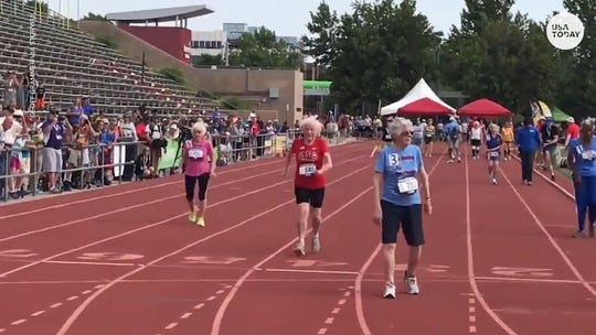 """103-year-old sprinter Julia """"Hurricane"""" Hawkins sets records on the track with every race"""