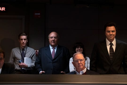 "Russell Crowe as Roger Ailes, Aleksa Palladino as Judy Laterza, Guy Boyd as Chet Collier and Seth MacFarlane as Brian Lewis in ""The Loudest Voice."""