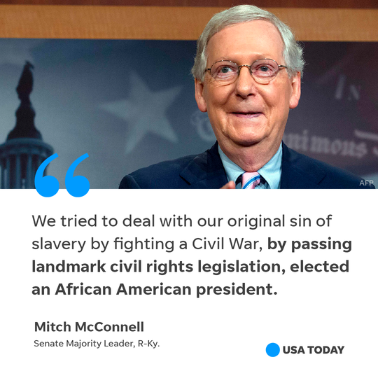 Senate Majority Leader Mitch McConnell's remarks on reparations for slavery.