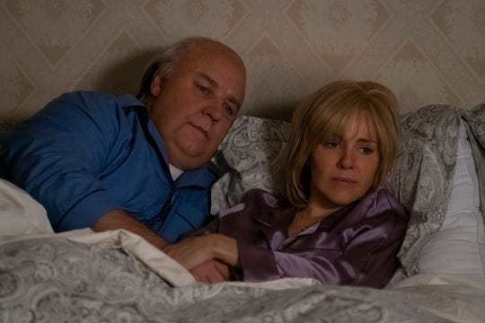 "Russell Crowe as Roger Ailes and Sienna Miller as Elizabeth Ailes in ""The Loudest Voice."""