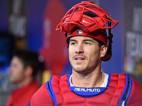 J.T. Realmuto has started 62 of the Phillies' 71 games and is on pace to start 142 games.