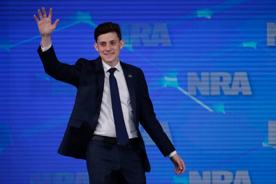 Kyle Kashuv, a survivor of the Marjory Stoneman Douglas High School shooting in Parkland, Florida, speaks at the National Rifle Association Institute for Legislative Action Leadership Forum in Indianapolis in April 2019.