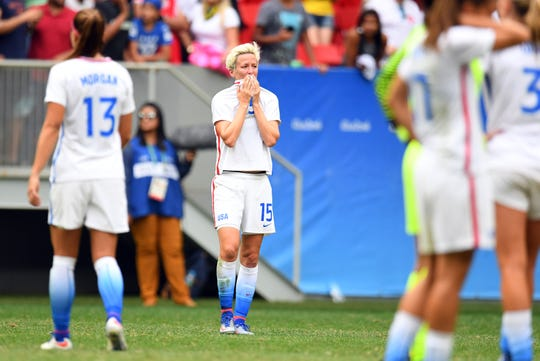 Megan Rapinoe after the team's loss to Sweden in the 2016 Olympic quarterfinals.