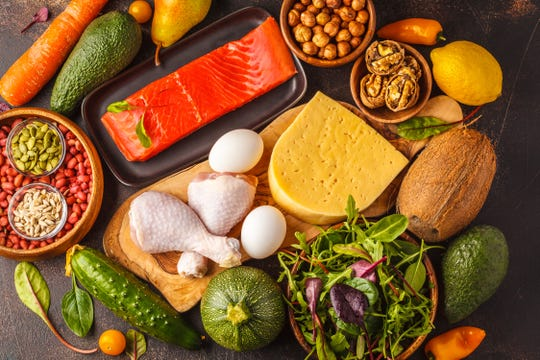 Examples of some foods that make up a good keto diet.