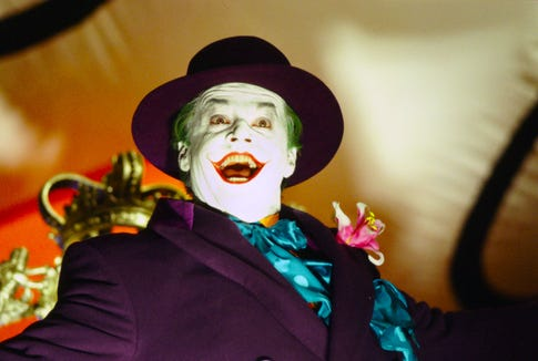 Jack Nicholson turned in a playfully psychotic, all-time turn as the Joker – until Heath Ledger redefined the supervillain almost 20 years later.
