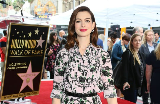 Anne Hathaway is honored with the 2,663rd Star on the Hollywood Walk Of Fame in front of the Chinese theatre on May 09, 2019 in Hollywood.