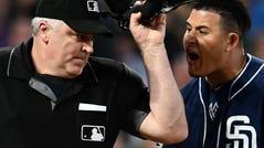 Machado argues with home plate umpire Bill Welke.