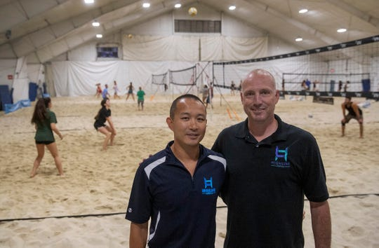 Partners Wayne Gant and Dawei Lin at Highline Arena in Aberdeen. Highline Arena has taken over the Tab Ramos Sports Center, featuring six indoor beach volleyball courts and a roller hockey rink.