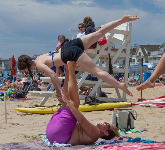 NJ Beaches: Belmar, Day at the Beach in June 15,  2019.