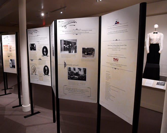 An exhibit on women's suffrage in Texas is paired with the Grace Museum's own collection of women's clothing from that era. The exhibit is located on The Grace's third floor.
