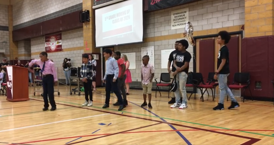 Johnson City students honored the memory of late classmate Jerome Smith through hip hop during the district's Fifth Grade Moving Up Ceremony Wednesday afternoon.