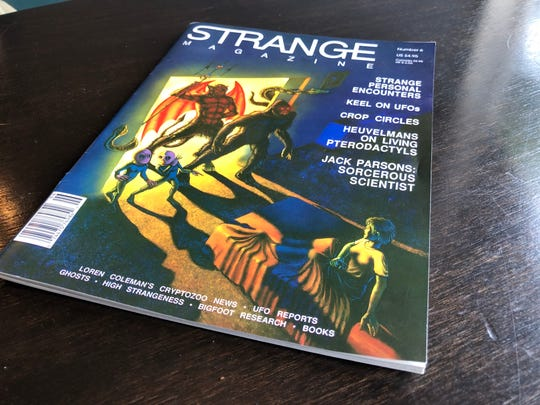 A copy of Strange Magazine Issue #6, which contains an unverified account of a woman who said she saw a giant shrimp in a basement on Denny Street.