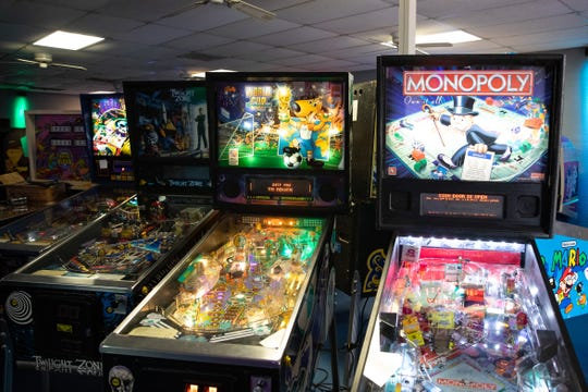 Pinball machines inside Quasar's Arcade  at 5301 Everhart Road in Corpus Christi.