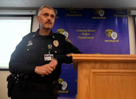 Corpus Christi Captain Denny Asbury speaks during the ATF and CCPD joint press conference, Thursday, June 20, 2019. The department explained the city has a big problem with people leaving guns in unlocked cars, then the guns get stolen