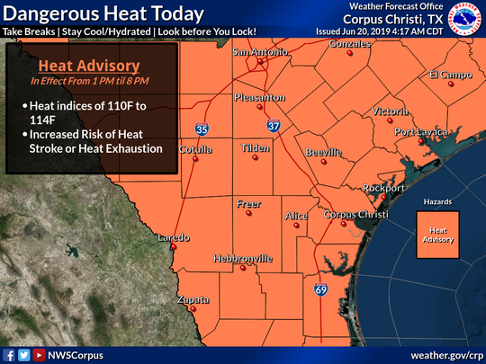 Very hot temperatures and moist air near the surface will combine to produce dangerous heat index values over South Texas on June 20, 2019, according to the National Weather Service.