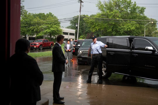 New Jersey Gov. Phil Murphy arrives at the Cherry Hill Fire Department's central command do discuss flood-damaged areas of South Jersey Thursday, June 20, 2019 in Cherry Hill, N.J.