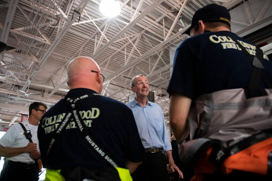 New Jersey Gov. Phil Murphy meets with Collingswood and Cherry Hill firefighters Thursday, June 20, 2019 in Cherry Hill, N.J.