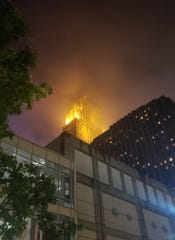 Carew Tower in Downtown Cincinnati was surrounded in fog, causing an eerie effect