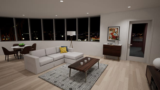 A model unit at the new Madison Place luxury apartment complex in Covington, Ky.