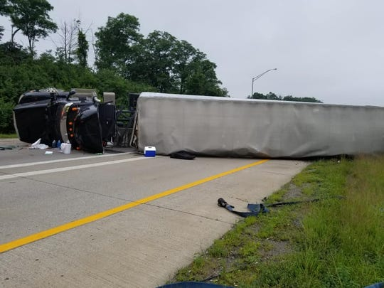 Erlanger Fire units are currently on the scene of an overturned tractor trailer on NB I-75 to EB I-275.