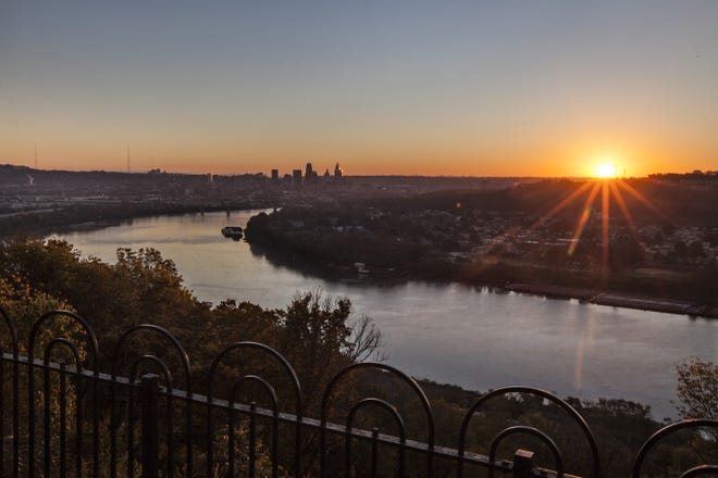 October 19, 2015: The sun rises Monday over the Ohio River at Cincinnati. Taken from Mt. Echo Park.